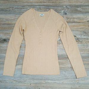 SO Nude Ribbed V Neck Quarter Button Sweater Top